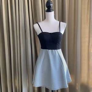 Material girl: black and white mini dress
